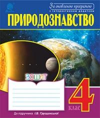 Природознавство. Робочий зошит 4 кл. до підручника Грущинської І.В. За оновленою програмою